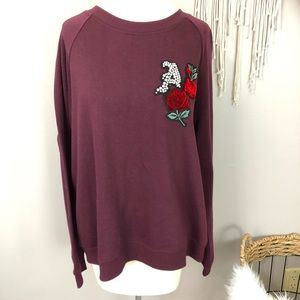Aeropostale XL burgundy crew neck red rose bling